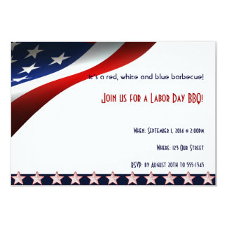 Modern Stars and Stripes Forever Flag Labor Day 3.5x5 Paper Invitation Card