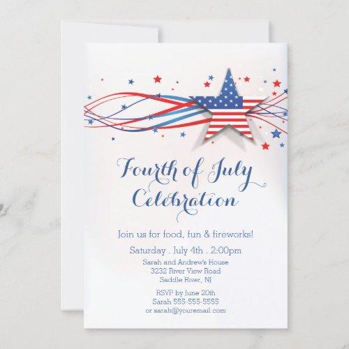 Modern Stars  Stripes 4th of July Invitation