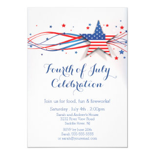 Modern Stars & Stripes 4th Of July Invitation at Zazzle