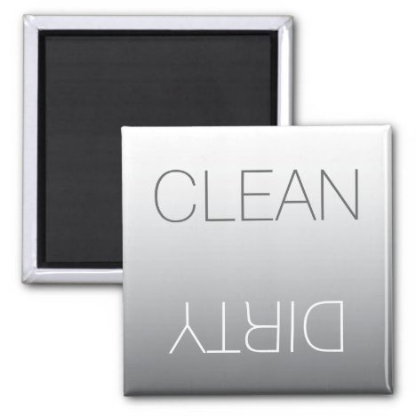 Modern Steel Gray Clean or Dirty Dishwasher Magnet