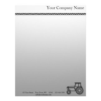 Modern Steel Tractor Illustration on a Grey Fade Letterhead