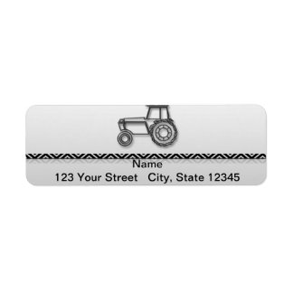 Modern Steel Tractor on Grey Fade Return Address Label