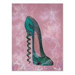 Modern Stiletto shoe corkscrew heel art Postcard