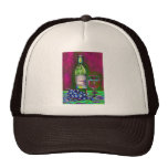 Modern still life art of wine and grapes Cap Hat