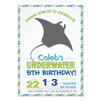 Modern Sting Ray Navy Blue and Green Invite