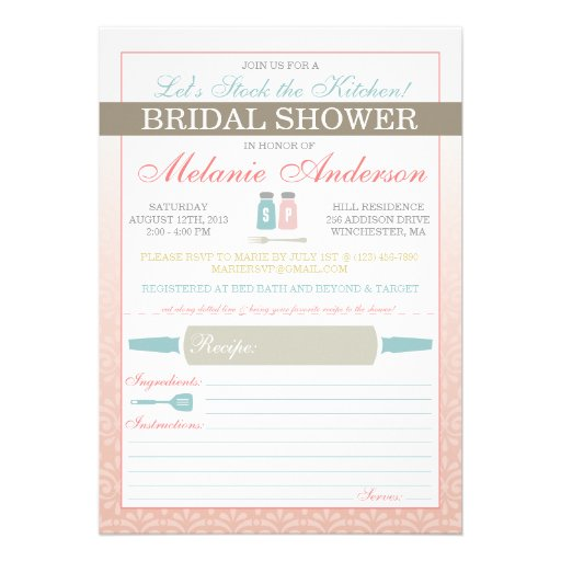 Modern Stock The Kitchen Bridal Shower Invites 5 X 7 Invitation Card Zazzle