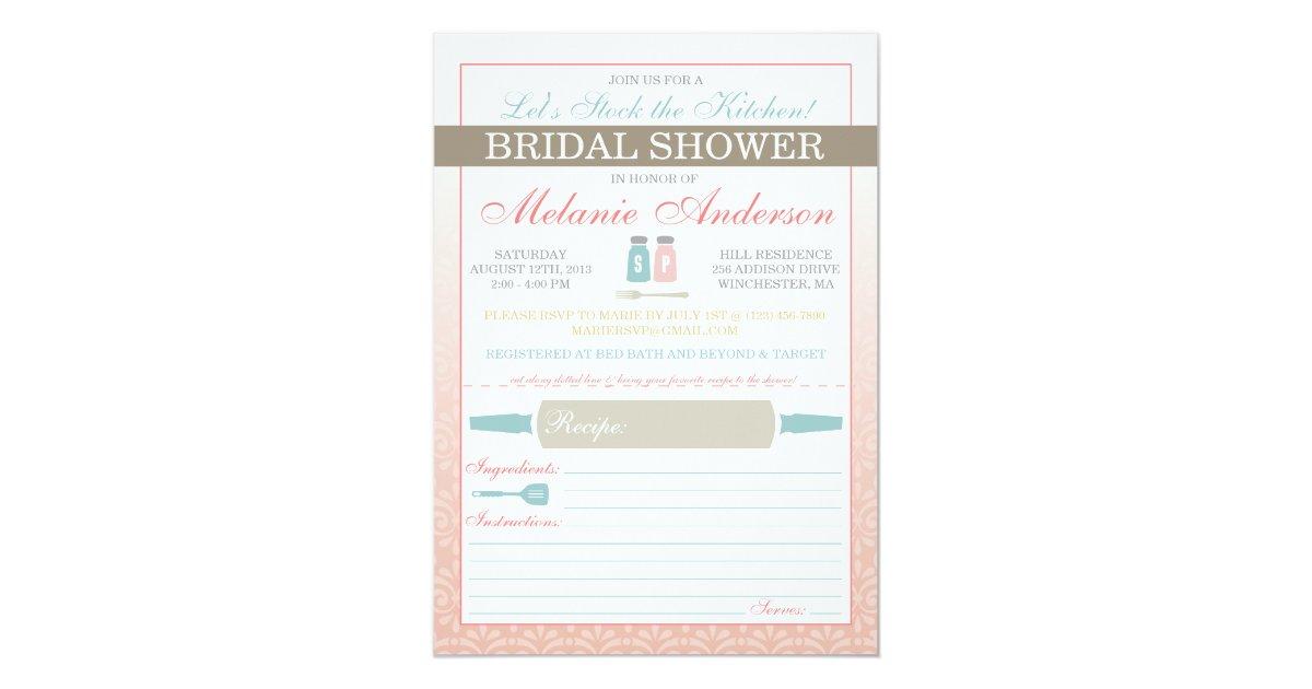 Modern Stock The Kitchen Bridal Shower Invites Zazzle