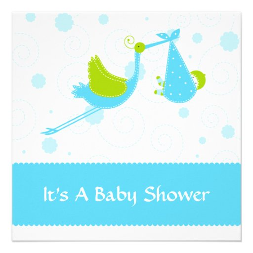 modern stork baby shower invitation blue square invitation