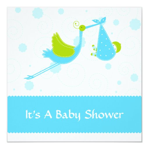 Modern stork baby shower invitation blue zazzle for Baby shower stork decoration