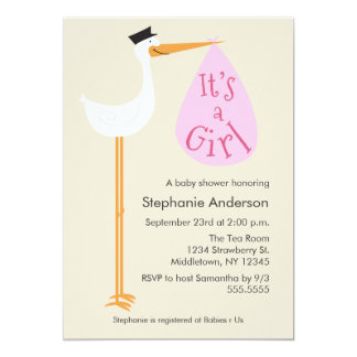 Modern Stork Baby Shower Invitation - Girl