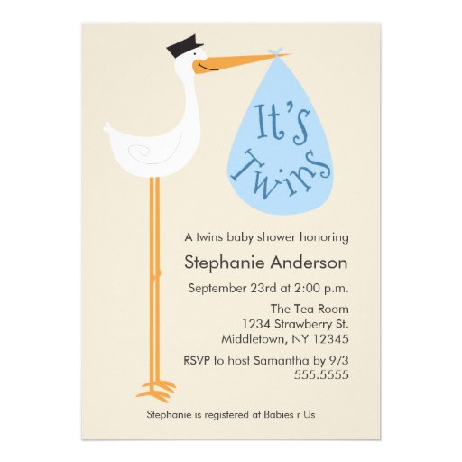Modern Stork Baby Shower Invitation - Twin Boys (front side)