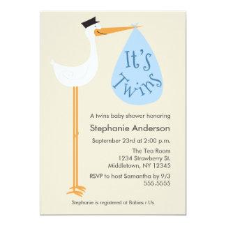 Modern Stork Baby Shower Invitation - Twin Boys