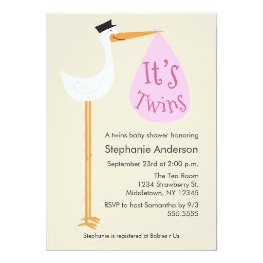 Modern Stork Baby Shower Invitation Twin Girls Zazzle
