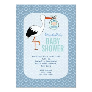 Modern Stork holding Baby Boy Shower Party Invite