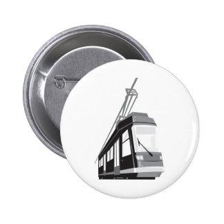 Modern Streetcar Tram Train Pinback Button