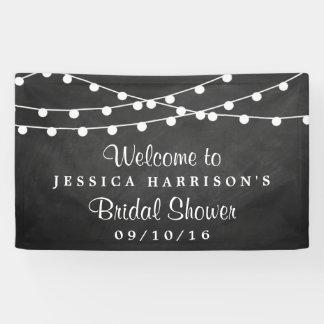 Modern String Lights On Chalkboard Bridal Shower Banner