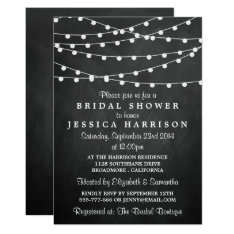 Modern String Lights On Chalkboard Bridal Shower Card at Zazzle