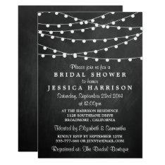 Modern String Lights On Chalkboard Bridal Shower Card at Zazzle