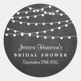 Modern String Lights On Chalkboard Bridal Shower Classic Round Sticker