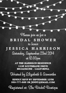 Chalkboard bridal shower invitations zazzle modern string lights on chalkboard bridal shower invitation filmwisefo