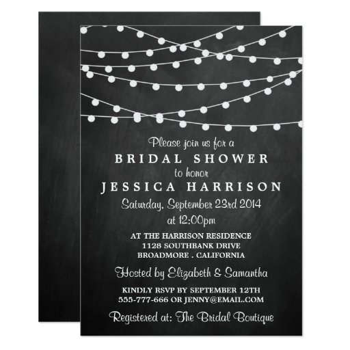 Modern String Lights On Chalkboard Bridal Shower Invitation
