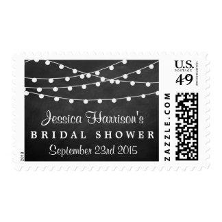 Modern String Lights On Chalkboard Bridal Shower Postage