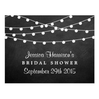 Modern String Lights On Chalkboard Bridal Shower Postcard