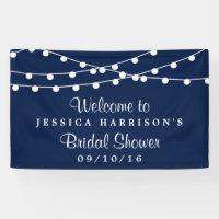 Modern String Lights On Navy Blue Bridal Shower Banner
