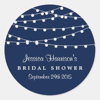 Modern String Lights On Navy Blue Bridal Shower Classic Round Sticker