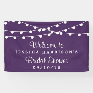 Modern String Lights On Purple Bridal Shower Banner