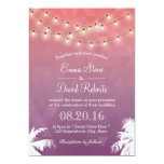 Modern String Lights & Palm Trees Wedding Card