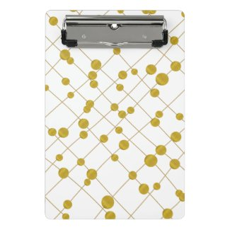 Modern string with gold foil beads pattern white mini clipboard