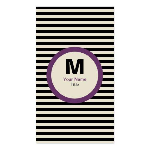 Modern Stripe Monogram Business Card - Black/Cream
