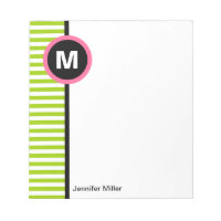Modern Stripe Monogram Memo Note Pad - Green/White