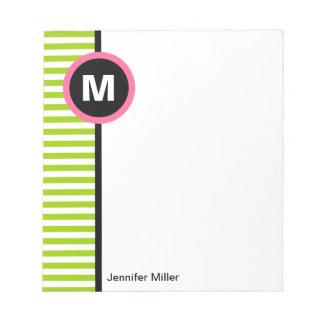 Modern Stripe Monogram Memo Note Pad - Green/White