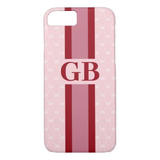 Modern Stripe Monogram w/ Designer Pattern Pink Case-Mate iPhone Case