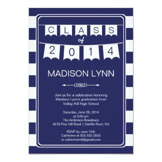 Modern Stripe Pennant Bunting Graduation Party Custom Announcements