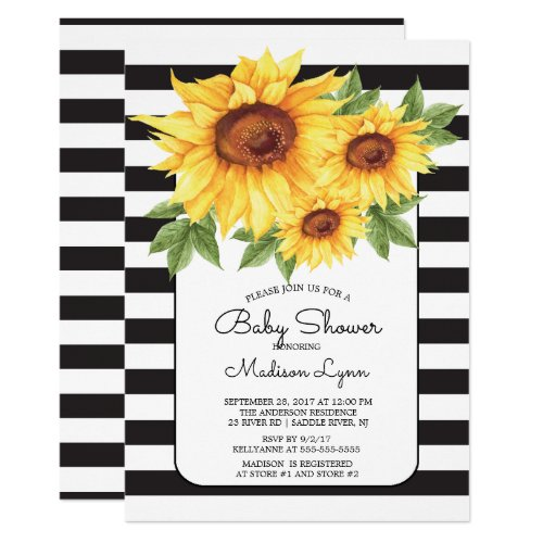 Modern Stripe Sunflower Baby Shower Invitation