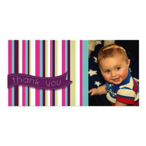 Modern Stripe Thank You Baby Birthday Photocard Card