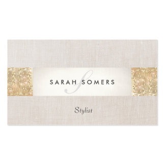 Modern Striped Beige, FAUX Gold Sequin Monogram Double-Sided Standard Business Cards (Pack Of 100)