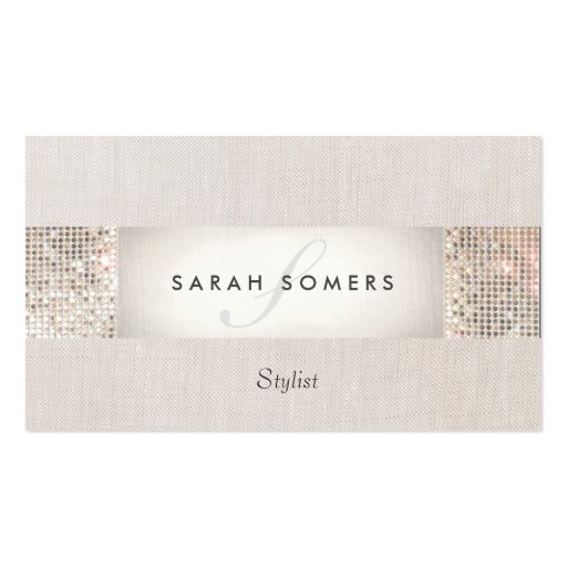 Modern Striped Beige, FAUX Silver Sequin Monogram Business Card Templates