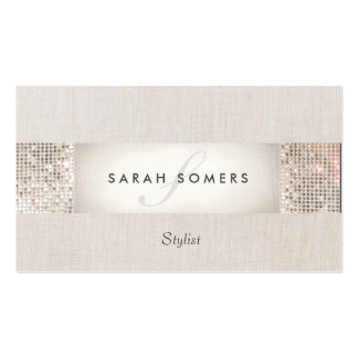 Modern Striped Beige, FAUX Silver Sequin Monogram Double-Sided Standard Business Cards (Pack Of 100)