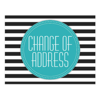 Modern Striped Change of Address Postcards