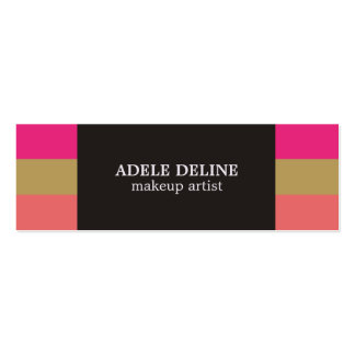Modern Striped Colorful Chic Makeup Artist Mini Business Card