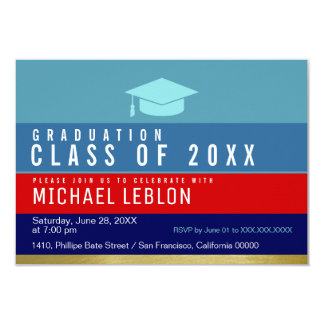 modern, striped & cool graduate . grad party card