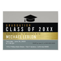 modern, striped & elegant graduate . grad party card