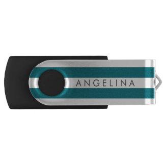 Modern Striped Pattern Custom Name - Blue White USB Flash Drive