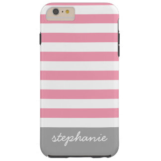 Modern Striped Pattern with Personalized Name Tough iPhone 6 Plus Case