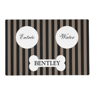 Modern Striped Personalized Pet Placemat