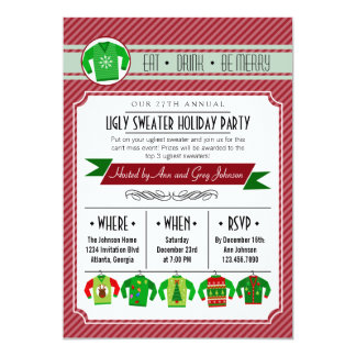 Modern Striped Ugly Sweater Holiday Party 5x7 Paper Invitation Card